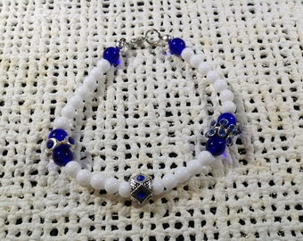 White and blue pewter accent bracelet