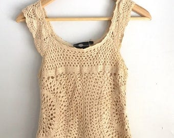 Vintage Crochet Tank Top | Small | Vintage Women's Clothes