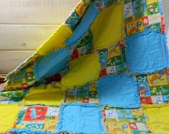 Handmade Cotton Flannel Dinosaur, Blue and Yellow Quilted Rag Crib Throw