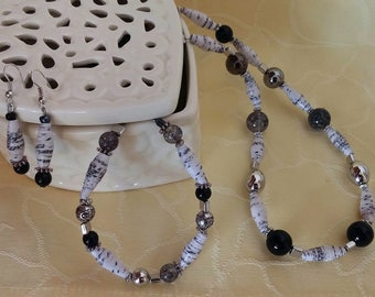 Marble - jewelry set with paper beads