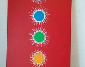 Large hand painted Chakra Painting/Root/Sacral/Solar Plexus/Heart/Throat/Third Eye/Crown/Meditation/Reiki Healing