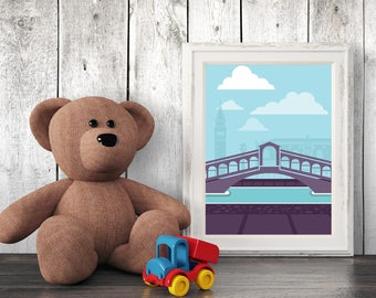 Architecture Nursery Print, Venice, Wall Art, Kids Art, Nursery Decor, Printables