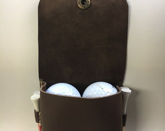 Handmade Leather Golf Ball and Tee Holder