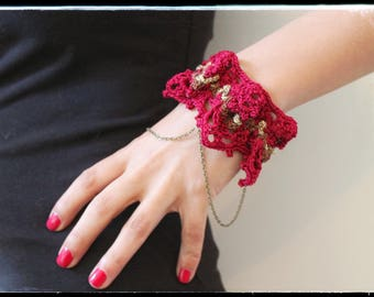 Bracelet Boho Chic cotton crochet Spring & Summer - Bordeaux