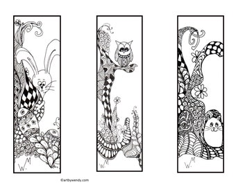Instant Printable Zentangle Bookmark, readers gift, book lover, Animal Bookmarks, Bunnies, Owls and Mice