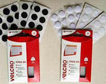 16 Velcro® Circular Sticky Pads/Coins Stick On Fasteners Hook and Loop 16mm