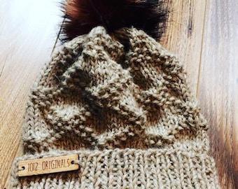 Women's Knit Hat with faux fur pom pom//Etta Hat//Knit toque//