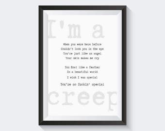 Creep - Radiohead song quote - downloadable graphic poster - black and white typography