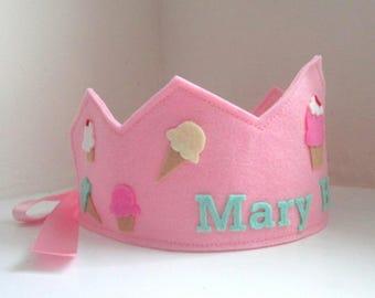 Birthday Crown, Ice Cream Crown, Cupcake Crown, Wool Felt Crown, Personalized, Velcro Closure, Smash Cake
