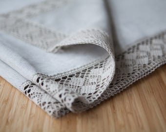 Natural linen tablecloth with linen lace