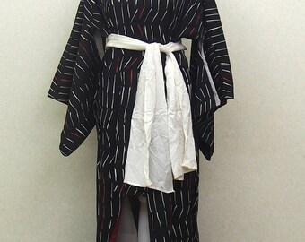 Black used kimono robe / Japanese traditional kimono robe