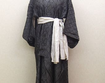 Gray used kimono robe / Japanese  vintage  kimono robe