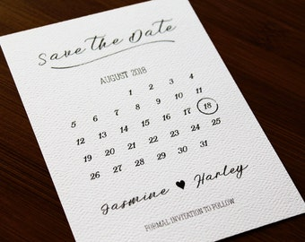 Save the Date Calendar Wedding Invitation Sample