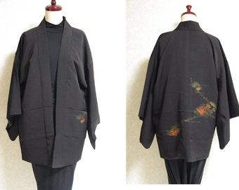 Japanese.old. kimono.free shipping.haori.coat.black.makie.