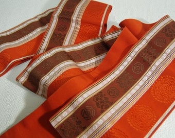 Japanese.Obi. Vintage. kimono.free shipping.Vermillion. Brown. White. Pale yellow.silk.