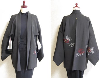 Japanese.old. kimono.free shipping.haori.coat.black.flower.kamone.mbroidery.