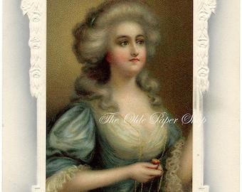 Vintage Postcard Victorian Lady Marie Antoinette in Fancy White Frame Kindest Regards