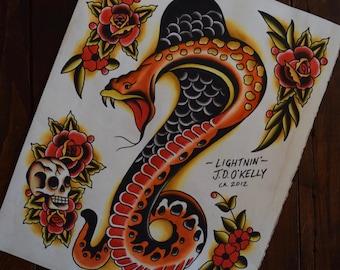 Cobra and Roses Tattoo Flash Print