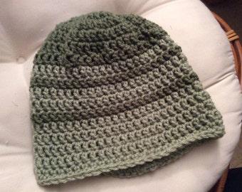 Hand crocheted Green striped beanie hat