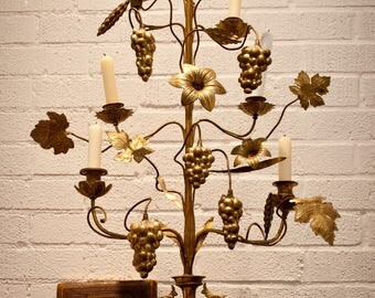 Rare Antique French Altar Candelabra - 3 Feet Tall -  Seven Arm, French Church, Brass, Grapes, Wheat, Leaves, Flowers