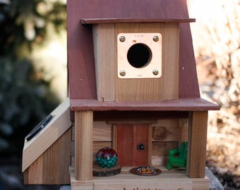 Unique Birdhouse, Solar Birdhouse, Wooden Birdhouse, Gift for Her, Mother's Day Gift, Housewarming Gift, rose, cabin, functional, songbird