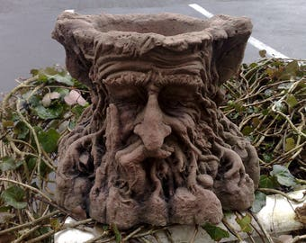 B-17 art sandstone tree face planter vase to the plant