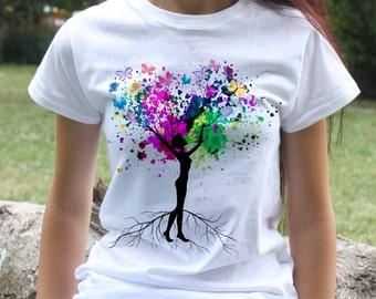 Woman Butterflies Tree t-shirt - Fashion women's apparel - Colorful printed tee - Gift Idea