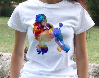 Poodle T-shirt - Dog Tee - Fashion women's apparel - Colorful printed tee - Gift Idea