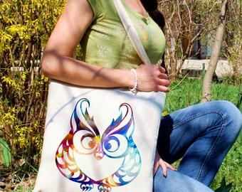 Owl tote bag -  Owl shoulder bag - Fashion canvas bag - Colorful printed market bag - Gift Idea
