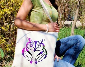 Fashion tote bag -  Owl shoulder bag - Fashion canvas bag - Colorful printed market bag - Gift Idea