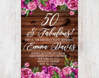 Surprise 50th birthday invitation,Rustic 50th Birthday Invite,floral birthday invitation Floral birthday party ,30st, 40th,60th,70th    067