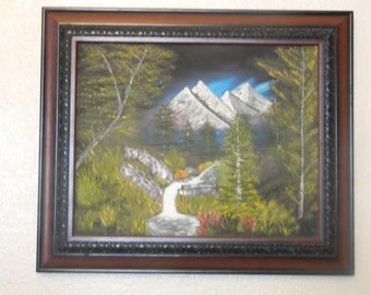 Oil painting, landscape ,Tropical mountain water fall