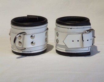 Leather wrist cuffs, genuine leather, soft padded, white black