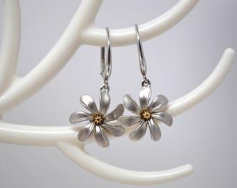 Designer Two Tone 14k Yellow Gold & Sterling Silver Flower Leverback Dangle Earrings - 530106313