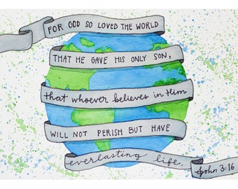 John 3:16 Watercolor Print