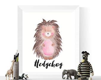 Hedgehog Printable | Hedgehog Watercolor Printable | Woodland Animals | Watercolour | Hedgehogs | Woodland Animal Prints