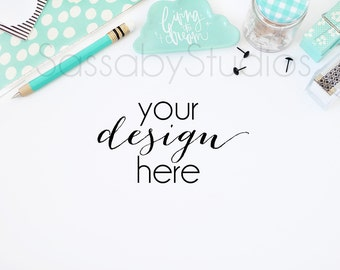 Aqua Office Desk Styled Stock Photography / Product Mockup / Styled Photo / Blog / Website / Sassaby Studios / Mint Blue #0007