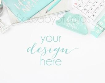 Aqua Silver Office Desk Styled Stock Photography / Product Mockup / Styled Photo / Blog / Website / Sassaby Studios / Mint Blue White #9238