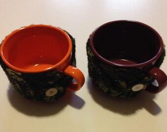 mug with crocheted cozy