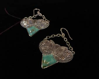 Barse - Turquoise and Sterling Silver Dangle Earrings - Nice Design! - Boho Chic - Southwestern