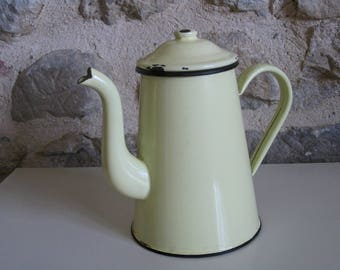Yellow enamel coffee pot, vintage French kitchen enamelware