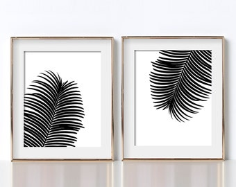 Black and White Prints Botanical Print Digital Download Art Prints Botanical Prints Black and White Leaves Prints Tropical Decor Tropical