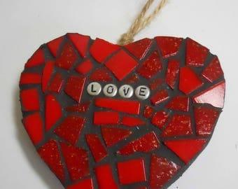 Mosaic Hearts Wall Art Glass Mosaic 5 Colours