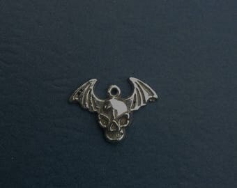 Sterling  Silver Scull With Wings Charm