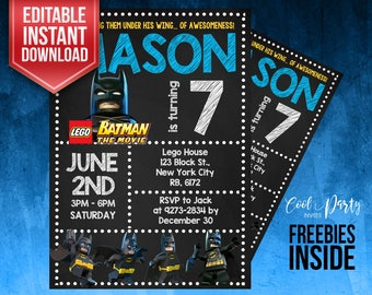 Lego Batman invitation, Batman Party, Lego Batman birthday invitation, Batman instant download, Batman Printables, Editable, Lego invitation