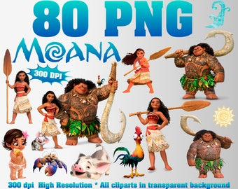 Sale Moana Clipart | 80 PNG 300 Dpi | Transparent background | Moana  Party Decorations | Moana, Maui, Heihei, Kakamora, Pua | Digital Files