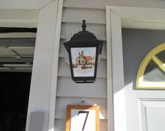 Lighthouse Scene, porch light, outdoor light fixture, light fixture, porch lamp, outdoor lamp, lamp post, lighthouse, ocean, beach, light