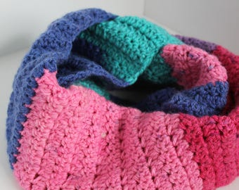Crocheted Multicolored Infinity Scarf