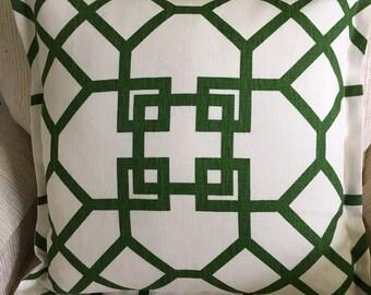 Green Geometric linen Pillow Cover, flanged