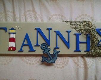 Handmade Custom Wood Greek Name Signs (for baby / nursery / kids room)